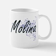 Molina surname artistic design with Flowers Mugs
