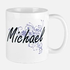 Michael surname artistic design with Flowers Mugs
