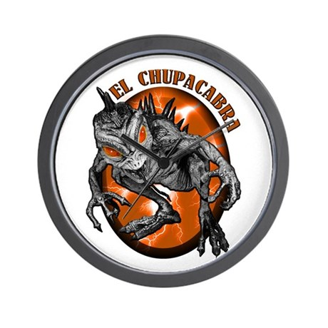 Chupacabra with Background 2 Wall Clock