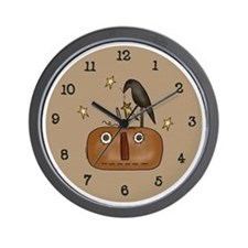 Primitive Jack-O-Lantern Wall Clock