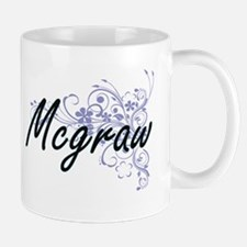 Mcgraw surname artistic design with Flowers Mugs