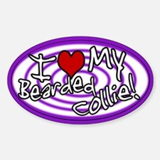 Hypno I Love My Bearded Collie Oval Sticker Purp