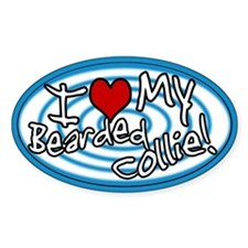 Hypno I Love My Bearded Collie Oval Sticker Blue