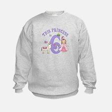 Unicorn Princess 6th Birthday Sweatshirt