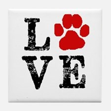 Love with a paw Tile Coaster