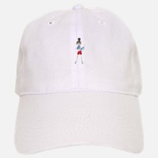 Ponytail lady with megaphone cartoon Baseball Baseball Cap