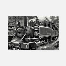 Black and White Vintage Steam Train Engine Rectang