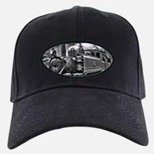 Black and White Vintage Steam Train Engine Baseball Hat
