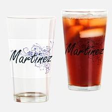 Martinez surname artistic design wi Drinking Glass