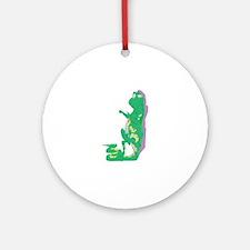 Lizard Reading Round Ornament