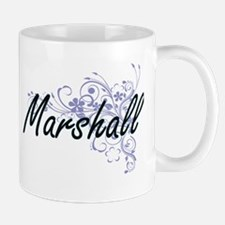 Marshall surname artistic design with Flowers Mugs