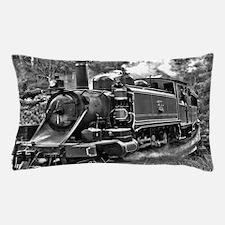 Black and White Vintage Steam Train En Pillow Case