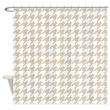 Brown Beige Houndstooth Pattern Shower Curtain By Colors