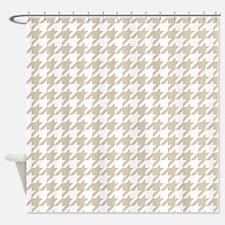 Brown, Beige: Houndstooth Pattern Shower Curtain