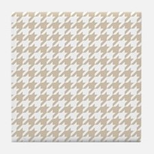 Houndstooth: Beige & White Checkered Tile Coaster