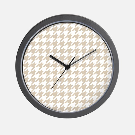 Brown, Beige: Houndstooth Pattern Wall Clock