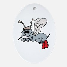 Mosquito with shoes Oval Ornament
