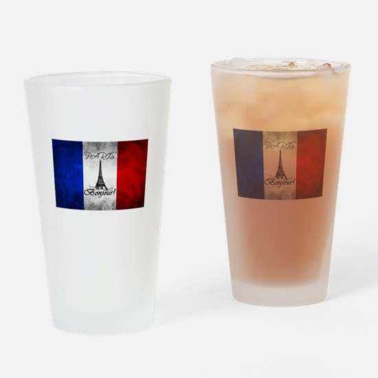 PARIS FRANCE FLAG EIFFEL TOWER Drinking Glass