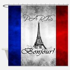 PARIS FRANCE FLAG EIFFEL TOWER Shower Curtain