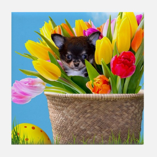 Easter Chihuahua Tile Coaster