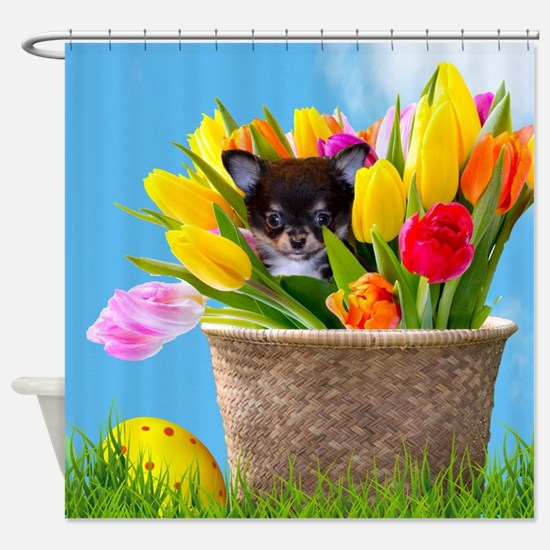 Easter Chihuahua Shower Curtain