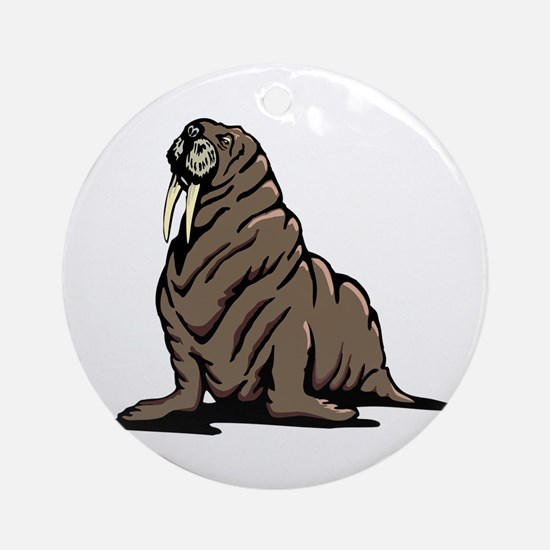 Walrus sitting Round Ornament