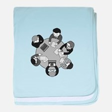 business men round table meeting baby blanket