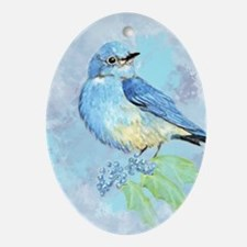 Watercolor Bluebird Blue Bird Art Oval Ornament