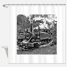 Black and White Vintage Steam Train Shower Curtain