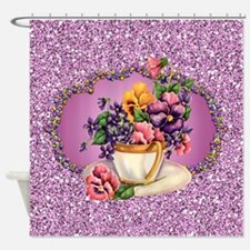 Pretty Pansies In Teacup Lavender Shower Curtain