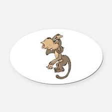 Monkey Confused Oval Car Magnet