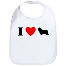 I Heart Bearded Collie Bib
