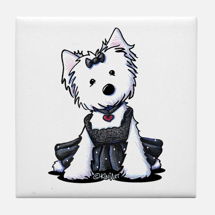KiniArt Westie LBD Tile Coaster