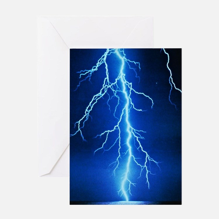 Blue Lightning Bolt Greeting Cards