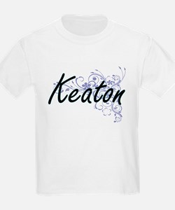 Keaton surname artistic design with Flower T-Shirt