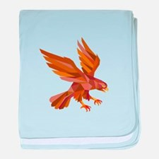 Peregrine Falcon Swooping Low Polygon baby blanket