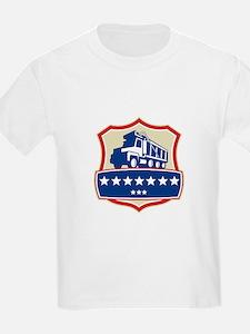 Triple Axle Dump Truck Stars Crest Retro T-Shirt
