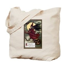Vintage Halloween Flying Witc Tote Bag