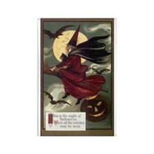 Vintage Halloween Flying Witc Rectangle Magnet