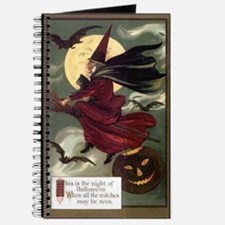 Vintage Halloween Flying Witc Journal