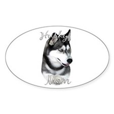 Husky Mom2 Oval Decal