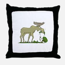 Moose Eating Throw Pillow
