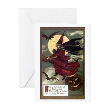 Vintage Halloween Flying Witc Greeting Card