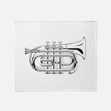 Pocket trumpet b flat b and w Throw Blanket