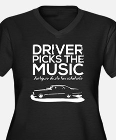 Cute Driver picks the music Women's Plus Size V-Neck Dark T-Shirt