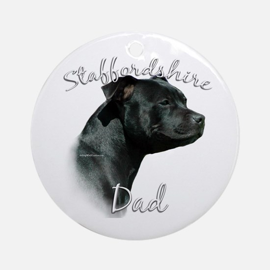 Staffy Dad2 Ornament (Round)