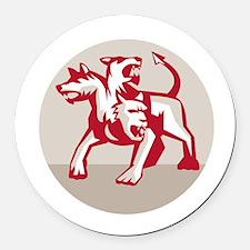 Cerberus Multi-headed Dog Hellhound Circle Retro R