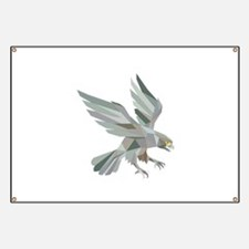 Peregrine Falcon Swooping Grey Low Polygon Banner