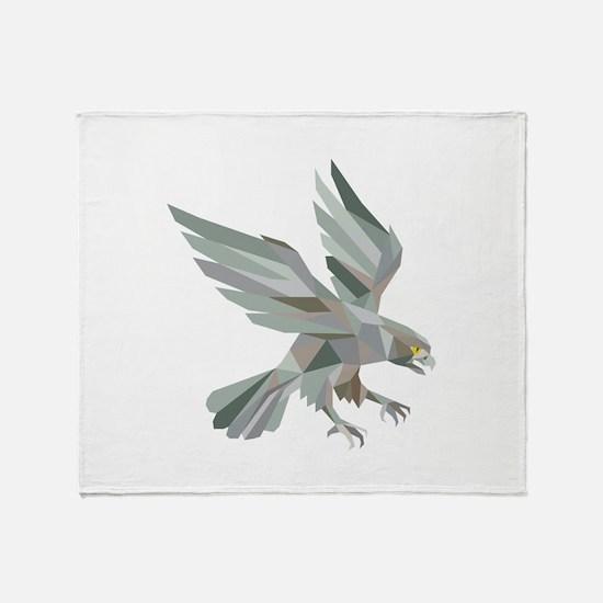 Peregrine Falcon Swooping Grey Low Polygon Throw B
