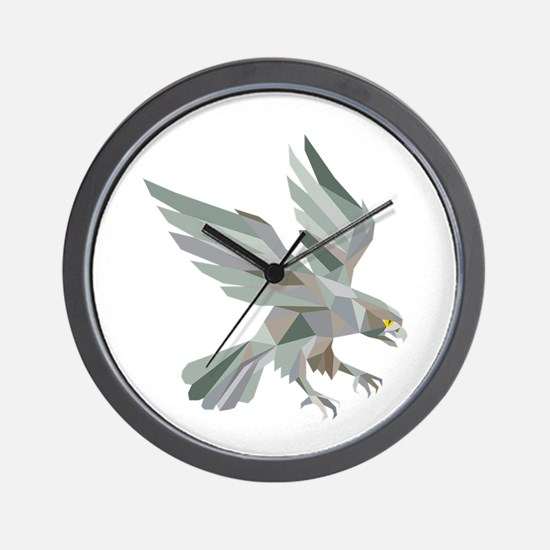 Peregrine Falcon Swooping Grey Low Polygon Wall Cl
